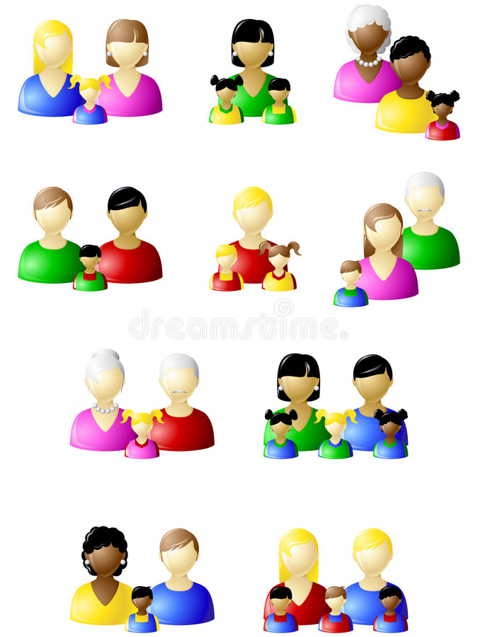 Non-traditional families icon set. Set of icons of different types of modern families. Graphics are grouped and in several layers for easy editing. The file can vector illustration