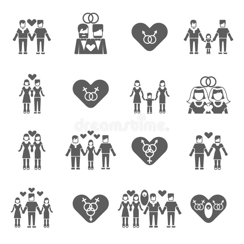 Non-traditional family icons set black royalty free illustration