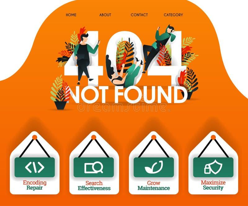 404 NON TROUVÉ avec des personnes recherchant l'erreur et les problèmes peut employer pour, page le débarquement, Web, appli mobi illustration libre de droits