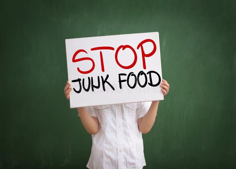 Non vogliamo mangiare gli alimenti industriali fotografie stock