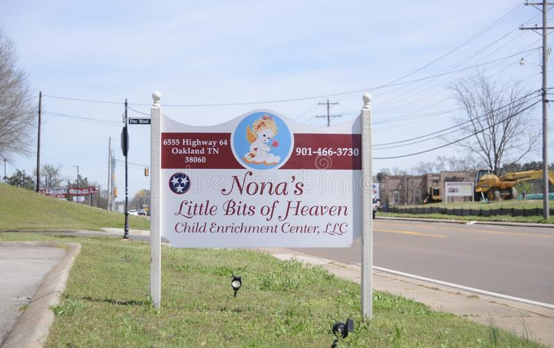 Nona`s Little Bits of Heaven Daycare Sign, Oakland TN stock photography