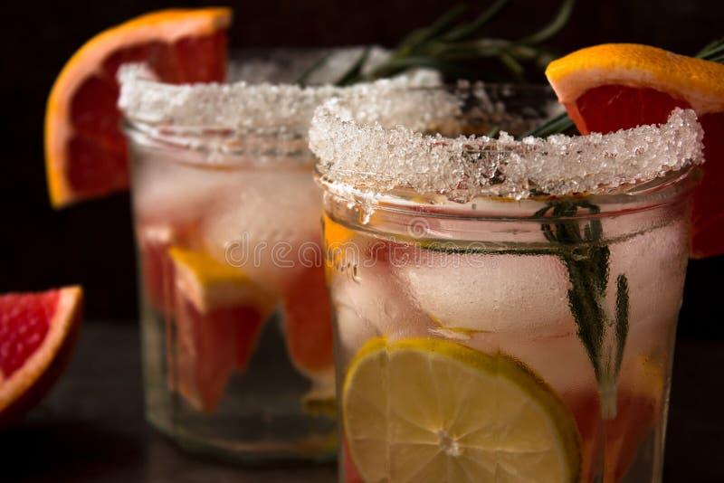 Nonalcoholic drinkcoctail av nya frukter: grapefrukt limefrukt, rosmarinbegrepp av en sund drink rostig bakgrundsmetall Två ca royaltyfria foton