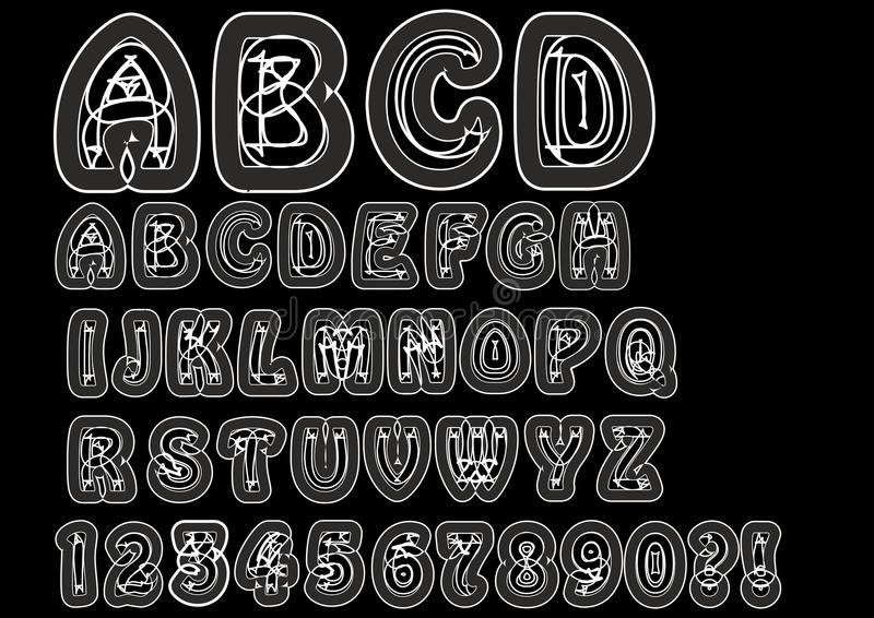 Nonconformist bizarre alphabet in white line. Original font set with doodle elements, uppercase characters and numbers, question m. Ark, exclamation mark vector illustration