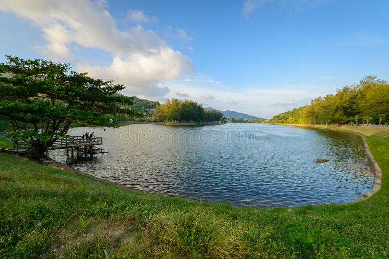 Nong harn laguna blisko Nai Harn plaży przy Phuket prowincją, Thailan fotografia stock