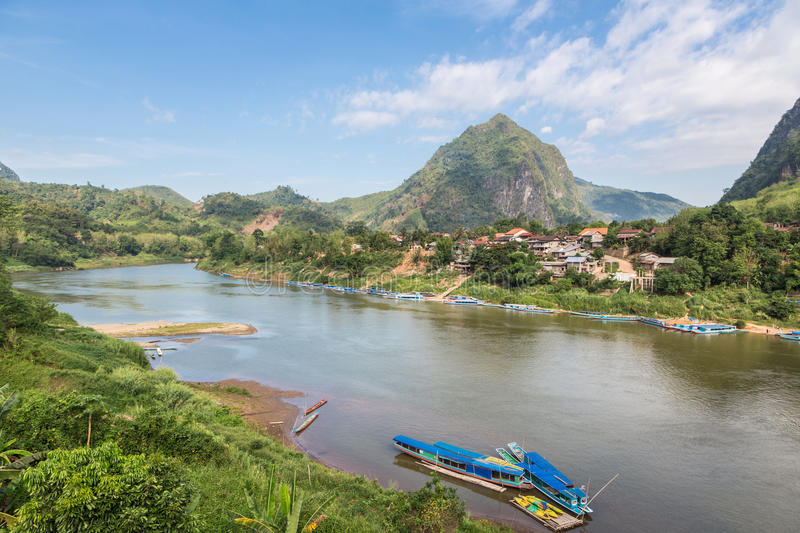 Nong Khiaw in north Laos royalty free stock photo