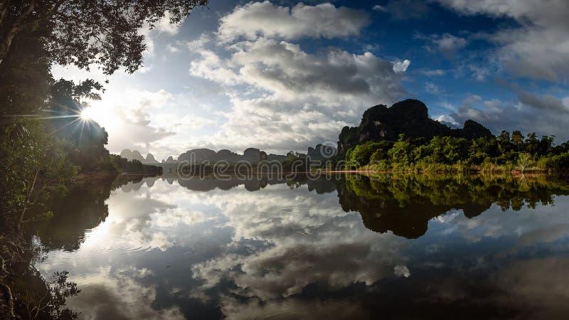 Nong Talay在早晨反射风景 库存图片