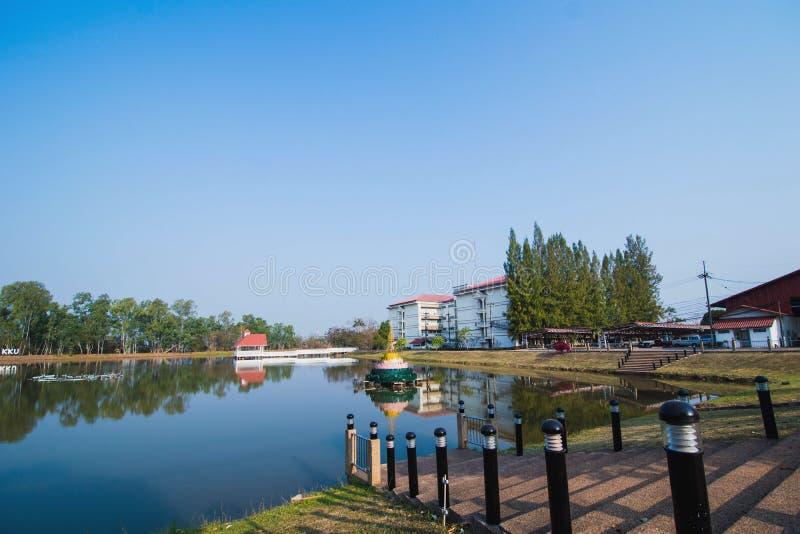 Nongkhai在自然微型风景的校园大学 免版税库存照片