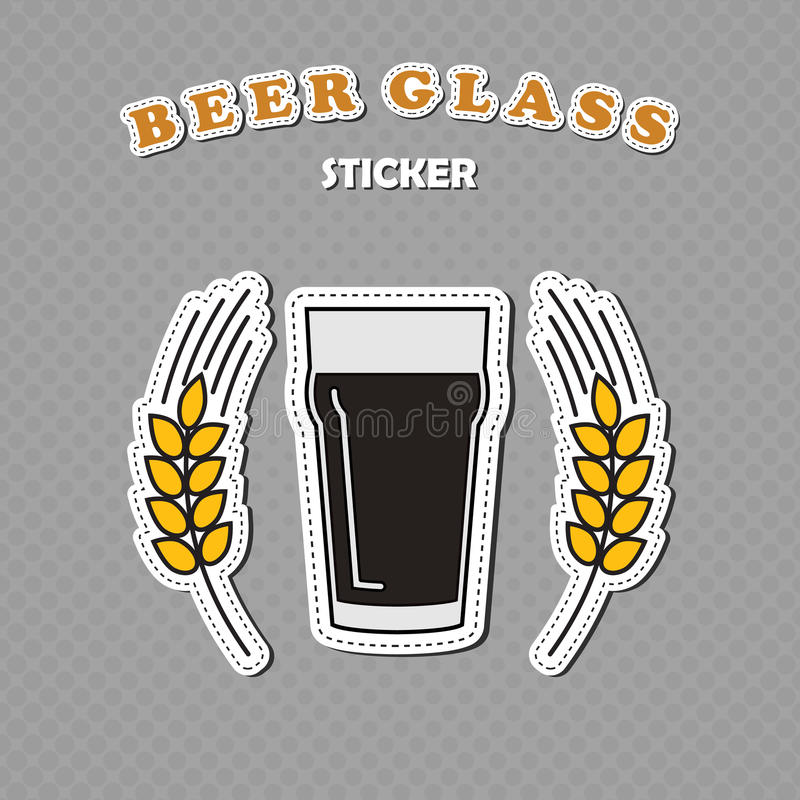 Nonic pint beer glass and two wheat spikes stickers. Beer logo, vector illustration vector illustration
