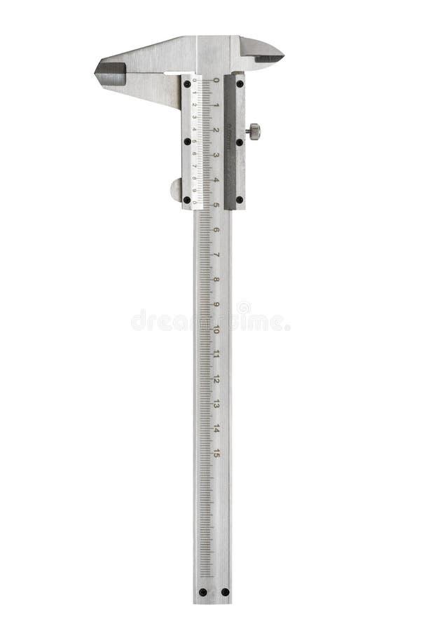 Noniuszu caliper na białym tle Precyzi pomiarowy narzędzie od srebnej stali odizolowywającej na białym tle fotografia stock