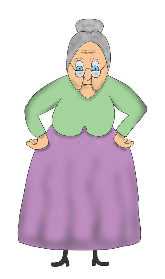Nonna anziana del fumetto divertente, illustrazione della nonna illustrazione di stock