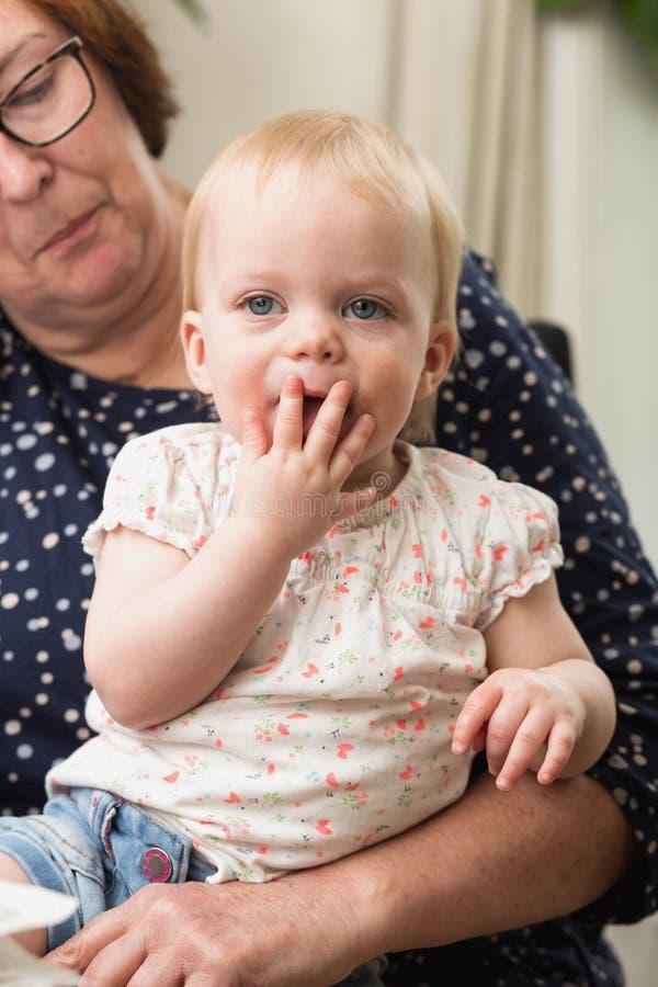 Nonna che tiene il suo nipote, famiglia felice variopinta fotografia stock