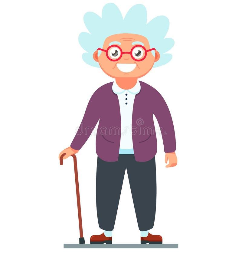 Nonna con una condizione della canna illustrazione vettoriale