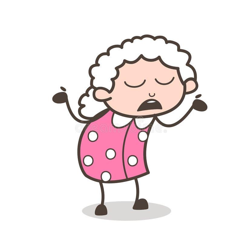 Nonna del fumetto che si comporta come l'illustrazione sconosciuta di vettore royalty illustrazione gratis