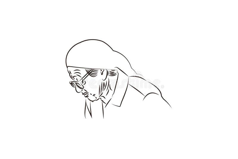 nonna della siluetta con ispirazione di progettazioni di logo degli occhiali da sole isolata su fondo bianco illustrazione vettoriale