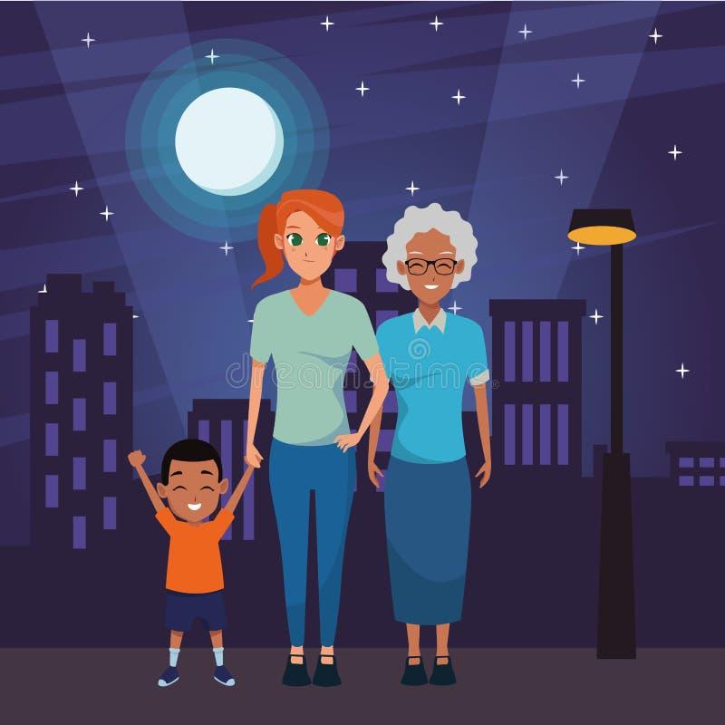 Nonna di afro della famiglia con il derivato e la nipote illustrazione di stock