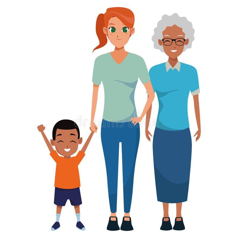 Nonna di afro della famiglia con il derivato e la nipote royalty illustrazione gratis