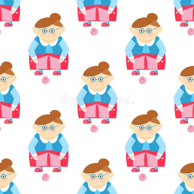 Nonna divertente con i ferri da maglia e una palla di filato royalty illustrazione gratis