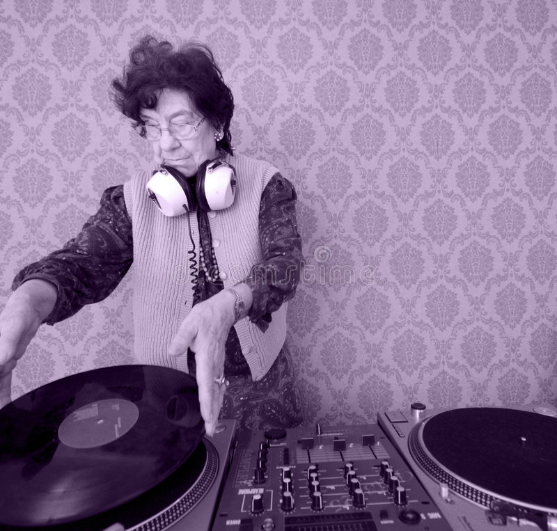 Nonna DJ fotografie stock