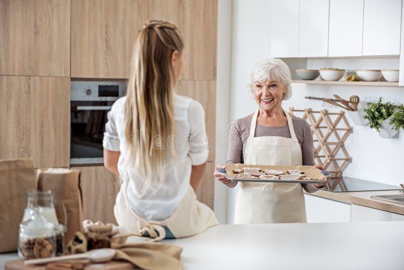 Nonna felice che dà i biscotti al forno alla ragazza fotografia stock