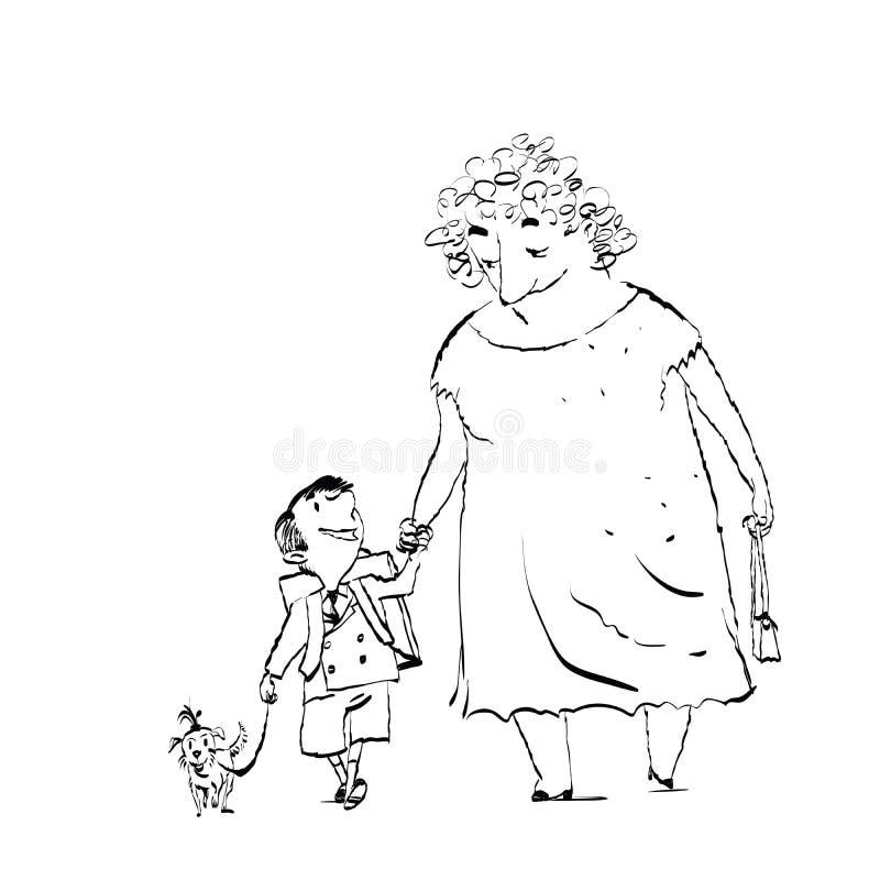 Nonna, nipote e cane su una passeggiata royalty illustrazione gratis