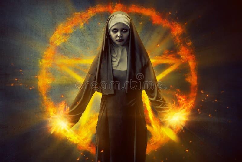 Nonne de pentagone étoilé et de diable image stock