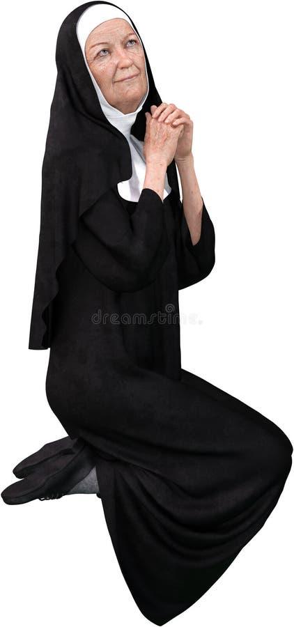 Nonne Praying, religion, religieux, d'isolement, chrétienne illustration de vecteur