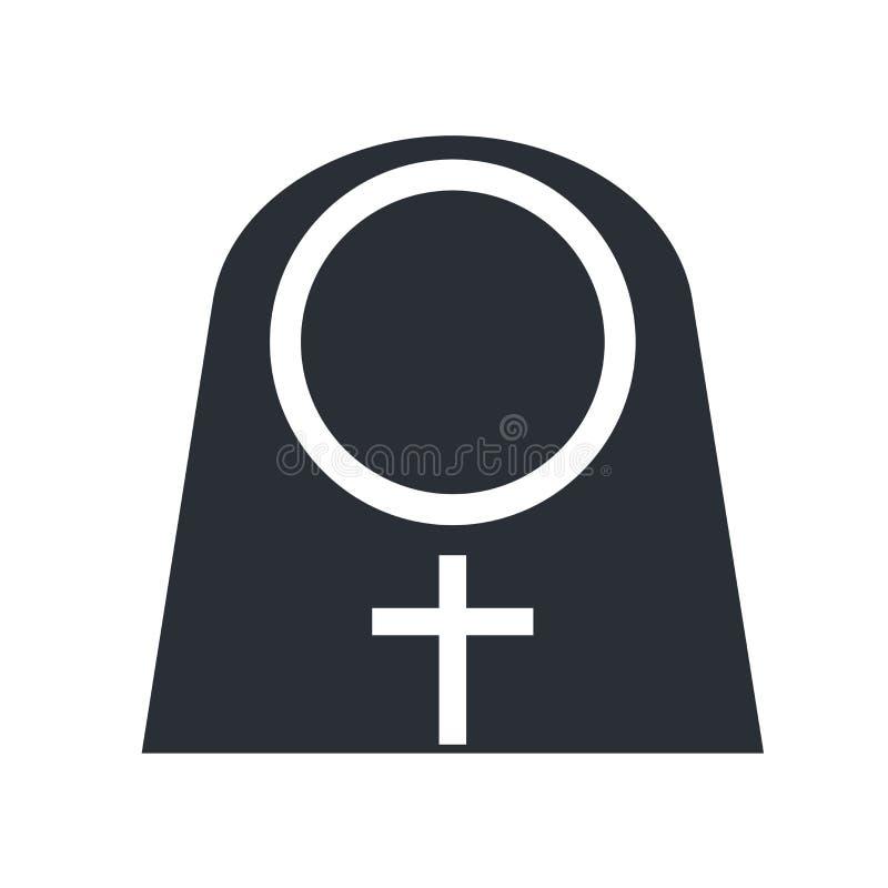 Nonnenikonenvektorzeichen und -symbol lokalisiert auf weißem Hintergrund, NU vektor abbildung