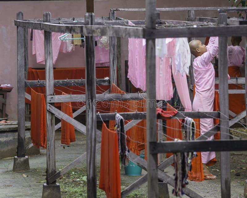 Nonnes bouddhistes dans Myanmar photographie stock