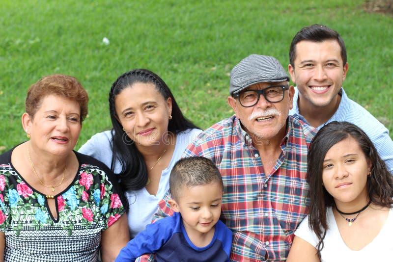Nonni con l'intera famiglia immagine stock