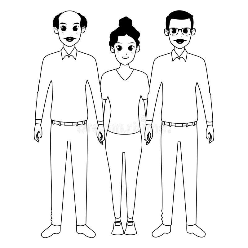 Nonni della famiglia con la nipote di afro del adultt in bianco e nero illustrazione di stock