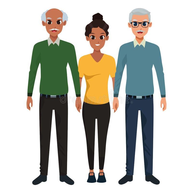 Nonni della famiglia con la nipote di afro del adultt illustrazione di stock
