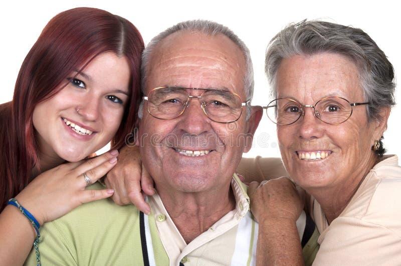 Nonni e la loro nipote immagine stock