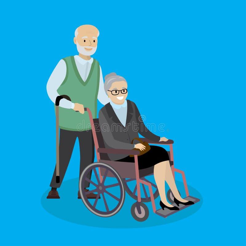 Nonno caucasico del fumetto con una canna e una nonna in una ruota illustrazione vettoriale