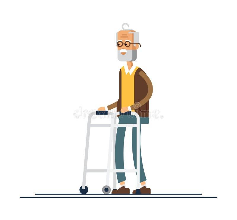 Nonno che cammina con un camminatore Illustrazione di vettore in uno stile piano royalty illustrazione gratis