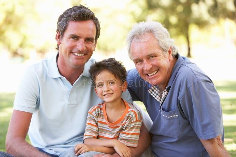 Nonno con il padre ed il figlio in sosta immagine stock libera da diritti