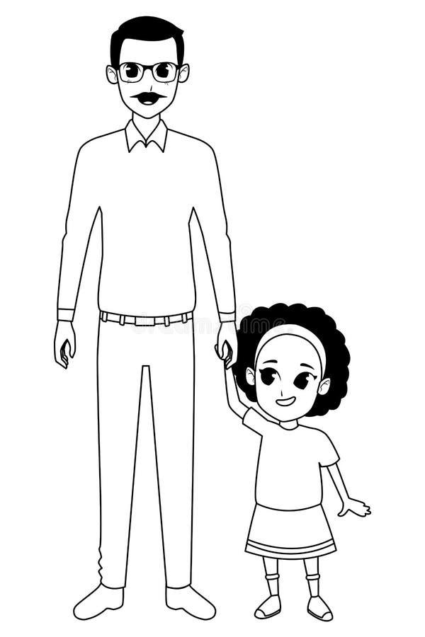 Nonno della famiglia con il fumetto del granddaugther di afro in bianco e nero illustrazione vettoriale