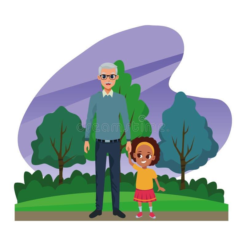 Nonno della famiglia con il fumetto del granddaugther di afro royalty illustrazione gratis