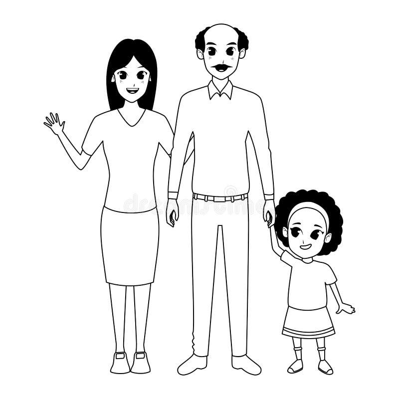 Nonno di afro della famiglia con il derivato e la nipote in bianco e nero illustrazione di stock