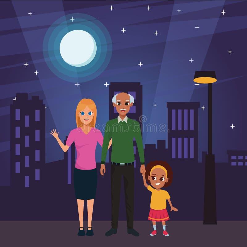 Nonno di afro della famiglia con il derivato e la nipote royalty illustrazione gratis