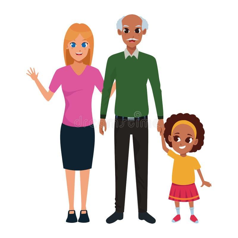 Nonno di afro della famiglia con il derivato e la nipote illustrazione vettoriale
