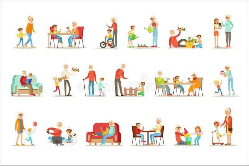 Nonno e nonna che spendono tempo che gioca con i nipoti, i bambini piccoli e le ragazze con i loro nonni messi illustrazione di stock