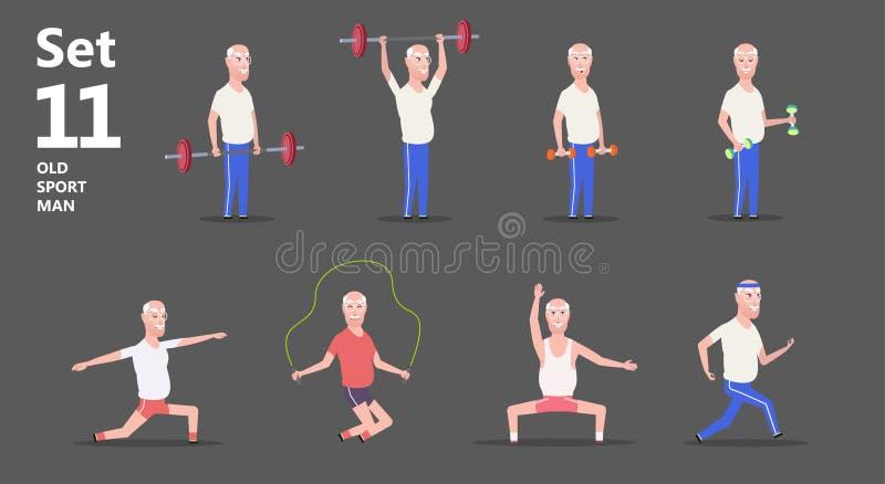 Nonno o uomo più anziano sull'esercizio e sugli sport royalty illustrazione gratis