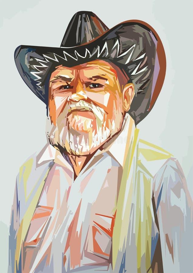 Nonno in un cappello da cowboy fotografia stock