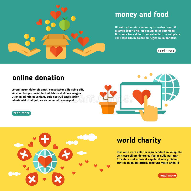 Nonprofit, charity, philanthropy, donate, giving donation, social help vector banners set. Online donation web poster, illustration of world charity and stock illustration