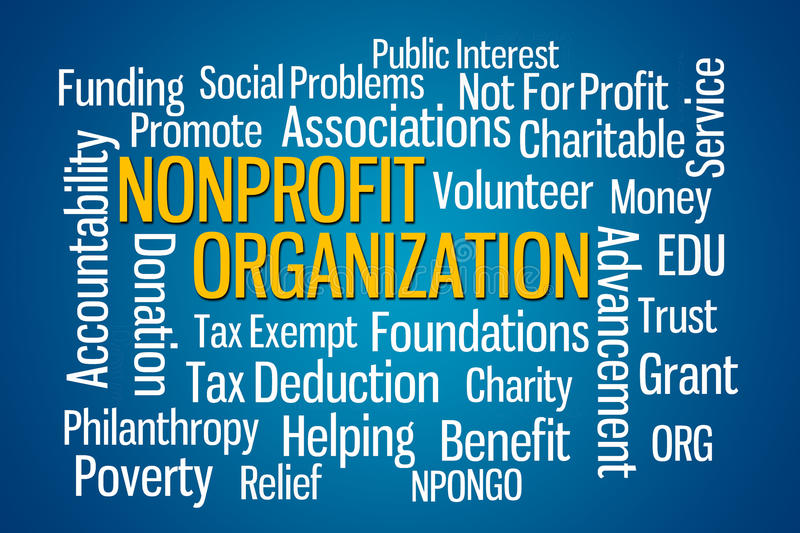 Nonprofit Organization. Word cloud on Blue Background