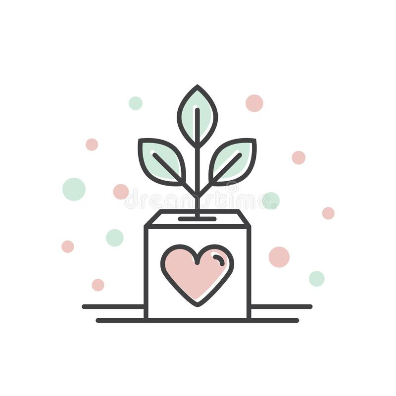 Nonprofit Organizations and Donation Centre. Business Growth, Fundraising Symbols, Crowdfunding Project Label, Charity Logo. Vector Icon Style Illustration of royalty free illustration