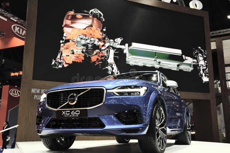 Nonthaburi,泰国- 2018年3月30日:在第39个曼谷国际汽车展示会的新的富豪集团XC60 2018年 免版税库存图片