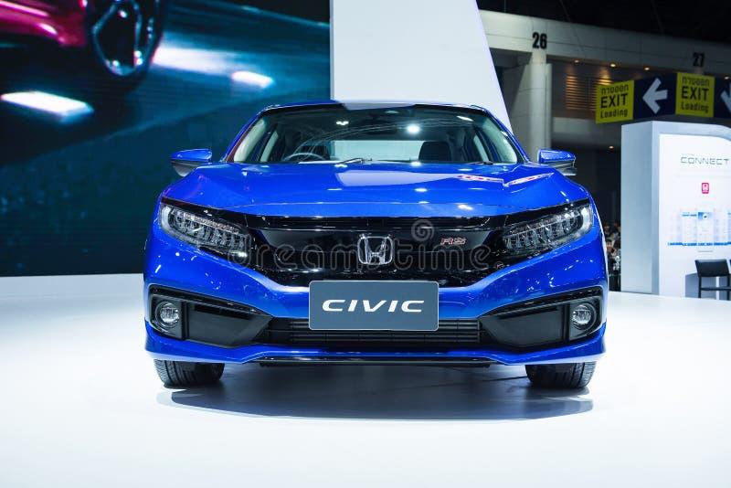 NONTHABURI, ТАИЛАНД - 6,2018 -ГО ДЕКАБРЬ: Взгляд полностью нового автомобиля Honda Civic turbo RS на дисплее на экспо мотора Таил стоковая фотография rf