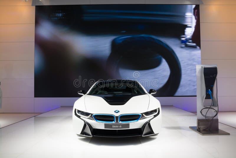 NONTHABURI - 3月23日:在显示的BMW i8在第37曼谷Int 库存照片