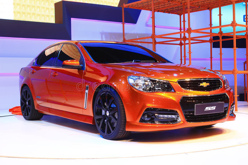 NONTHABURI - NOVEMBER 28: Chevrolet SS car on display at The 30th Thailand International Motor Expo on November 28, 2013 in royalty free stock photos
